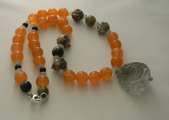 agate necklace Rare Chinese natural hand carved jade Dragon Ball pendant