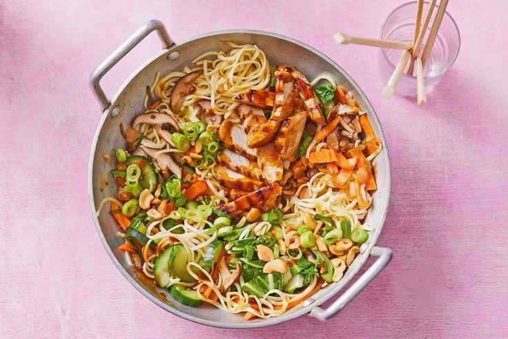 Deze Aziatische maaltijd met gegrilde varkensreepjes is binnen 15 minuten klaar en oh zo lekker. -recept- Allerhande