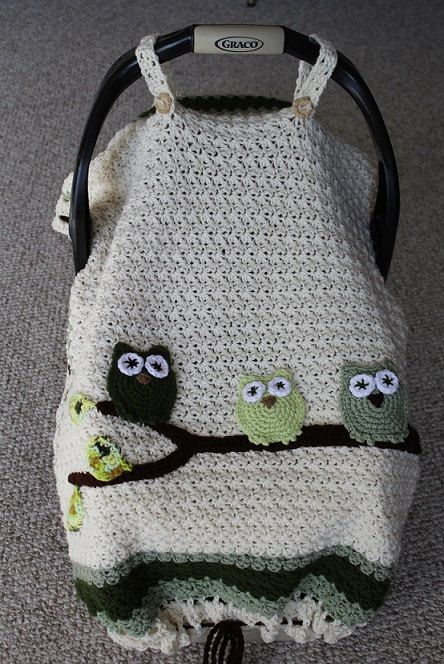 Three baby owls wait for their first flight! This adorable blanket plays multiple roles: • A handle-strap tented infant car seat cover with