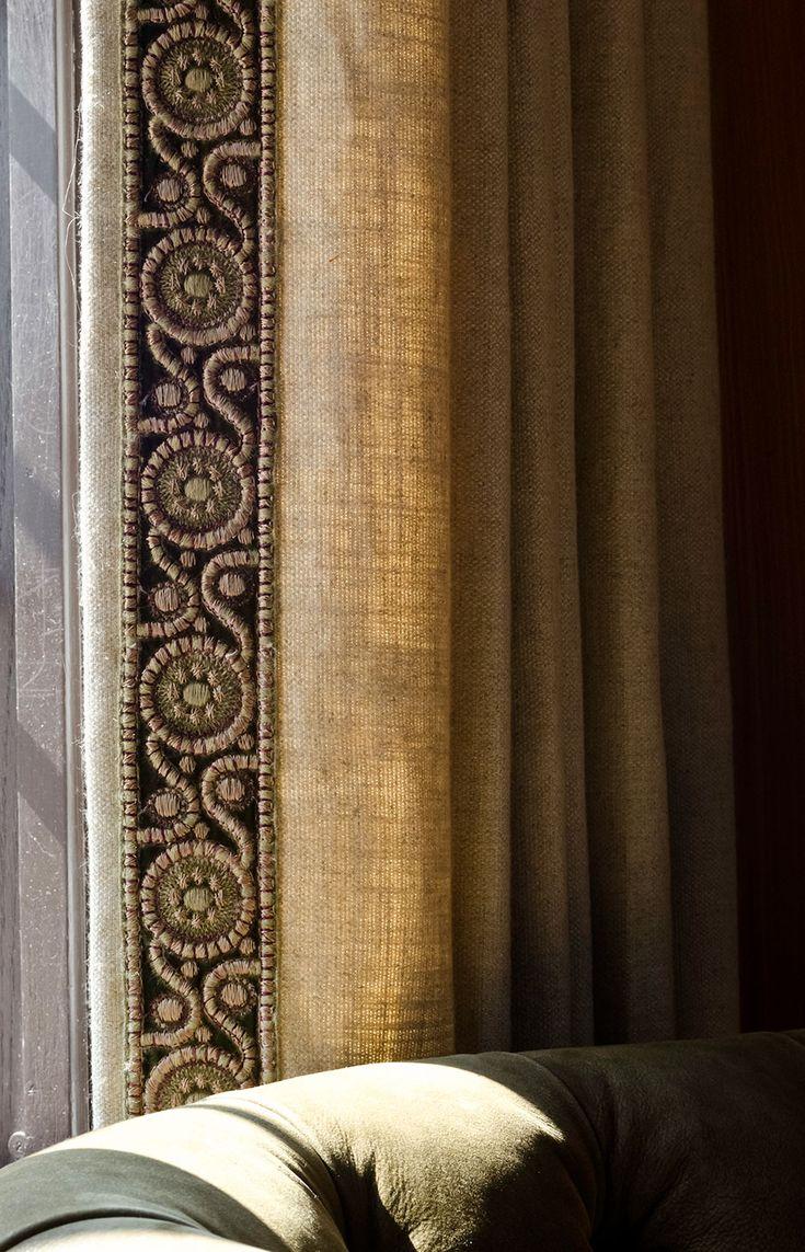 exquisitely bordered trim dresses up rustic fabric draperies