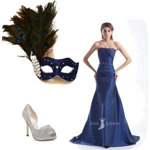 Navy themed masked ball peacock masquerade mask