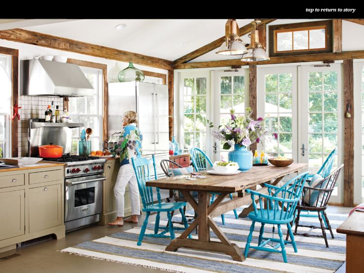 Open Kitchen With Blue Accents In The Kitchen