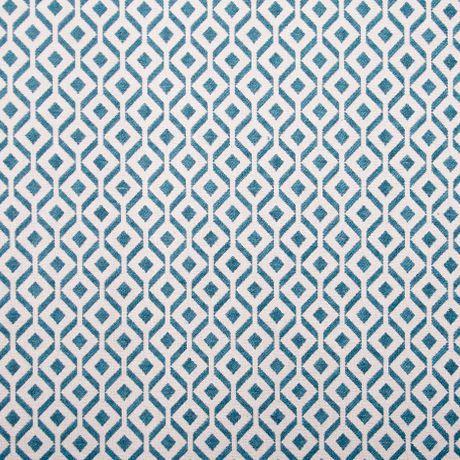 Jacquard texturado em tons azul e bege claro. O padrão quadrado forma um efeito geométrico no tecido. Adequa-se na perfeição a estofo, cortinado, almofadas e cabeceiras de cama.