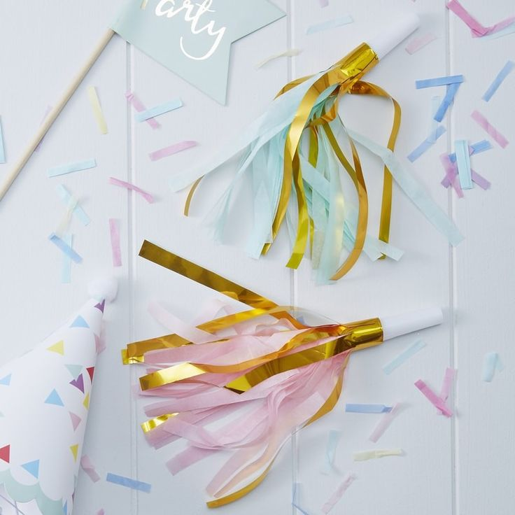 We're loving the colours of these fun tassel party horns! They would be great for a colourful birthday party! - Pick & Mix at GingerRay.co.uk