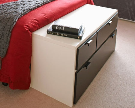 All extra storage is welcome, so position a low chest of drawers at the foot of your bed and use it to store your bed linen. Choose a style that's strong enough to sit on and has castors, so it's easy to move when making your bed.