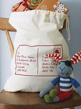 Personalised Postcard Christmas Sack by Sparks Clothing 15% OFF was $35.16 $29.88