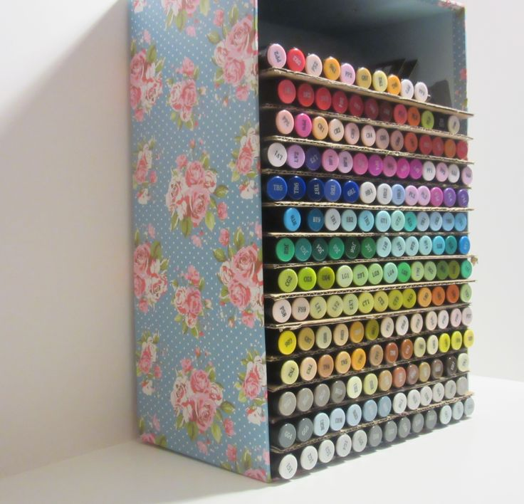 Diy Spectrum Noir marker storage, using a simple storage box from @storetwentyone and some leftover packaging to make them shelfs. Fits the full set of 168 pens.   http://simplybypink.blogspot.co.uk/2016/03/diy-alcohol-marker-storage-on-budget.html