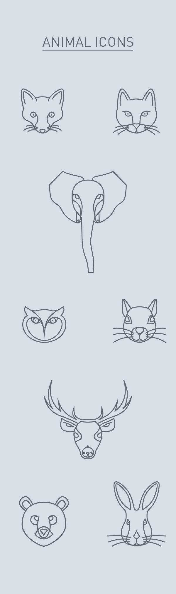 Desenhos de animais minimalistas.