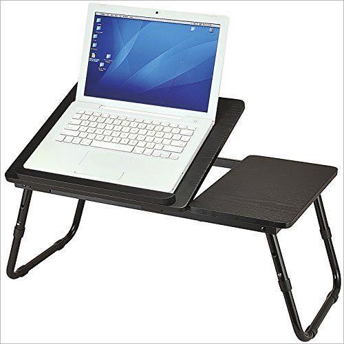 Table d'ordinateur portable pliable Noir Plateau de lit l x P x H 60 cm x 35 cm x 24 cm hauteur réglable pieds pliants, noir: Table pliante…