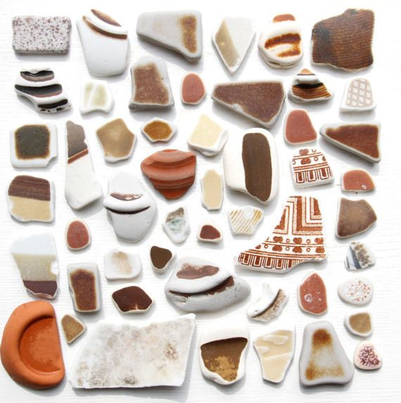 Bulk 50 Japanese Brown Sea PotteryBeach PotteryCoastal Home
