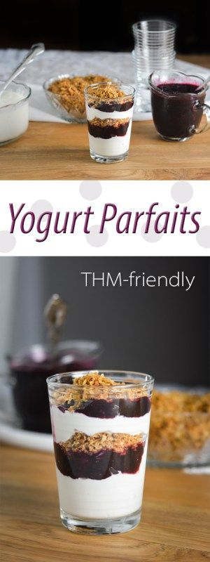 Yogurt Parfaits are a great thing to serve to company or keep on hand for easy snacks and desserts!  Included in this post are recipes for vanilla yogurt, a yummy blueberry sauce, and suggestions for all kinds of great toppings to fit Trim Healthy Mama S, E, or FP settings!