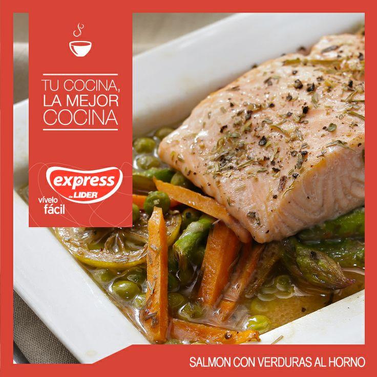 Salmón con verduras al horno #Recetario #Receta #RecetarioExpress #Lider #Food #Foodporn #Mundial #Chile
