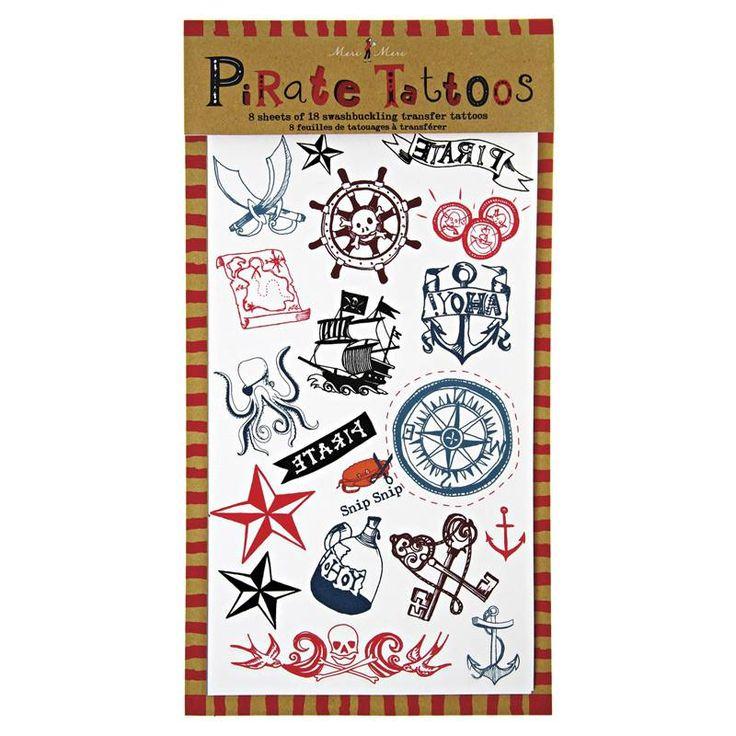 Piraten Thema - www.confettienco.be #decoratie #verjaardag #feest #piraat #jongens  #tattoo #slinger #webshop