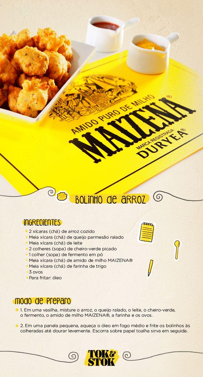 Receita de bolinho de arroz e o jogo americano da nossa parceria com MAIZENA®.