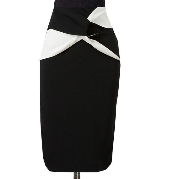 Black and White Pencil Skirt, Red and White Pencil Skirt