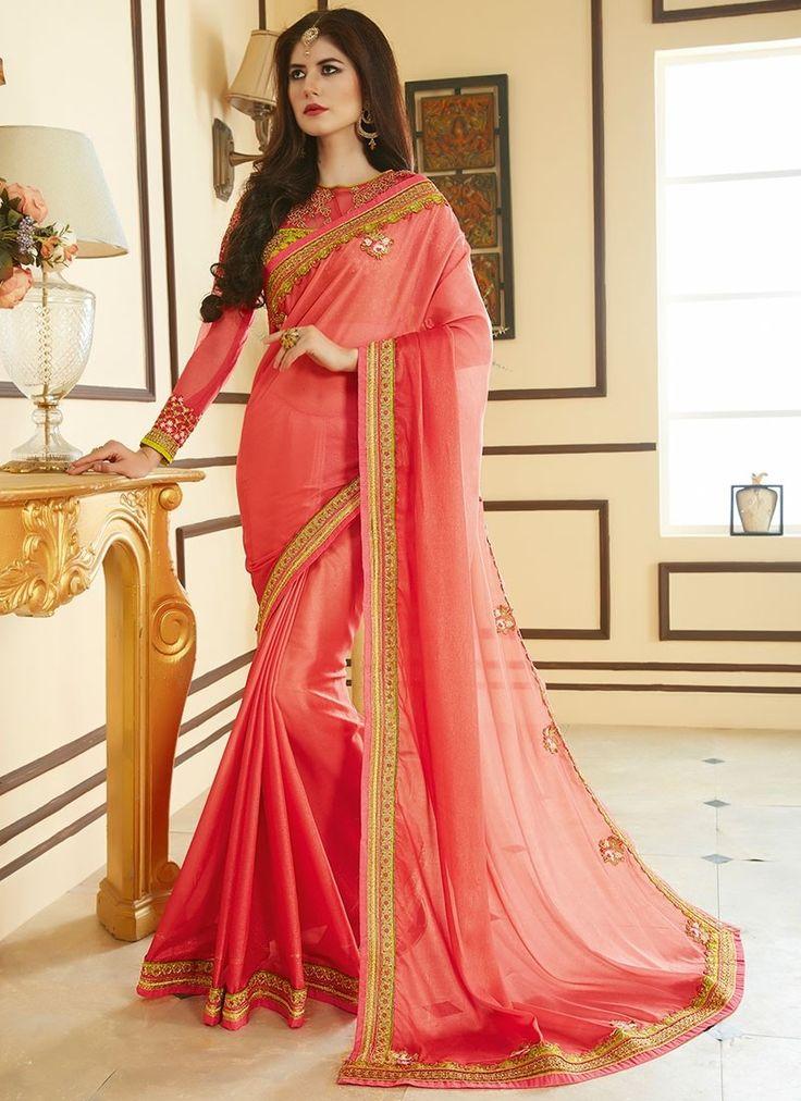 Shop Online Peach Pink Georgette #DesignerSarees @Chennaistore.com