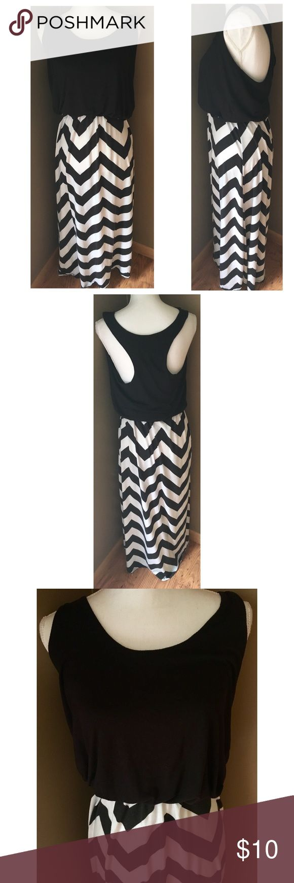 """Alison Britney Black & White Chevron Maxi Dress Allison Britney black & white sleeveless maxi dress with chevron Fair used condition - some light overall pilling and fading - denoted in price Size M --- super stretchy, though --- Pit to Pit: 19"""" --- Waist: 27"""" unstretched --- Hips: 48"""" --- Length: 55""""         *9* alison britney Dresses Maxi"""