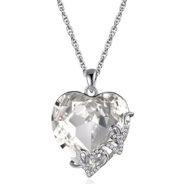 """Amazon.com: Lelekiss """"Heart of the Ocean"""" Love Filigree Swarovski... ($12) ❤ liked on Polyvore featuring jewelry, necklaces, crystal necklace, heart shaped necklace, blue heart pendant, heart pendant and crystal necklace pendant"""