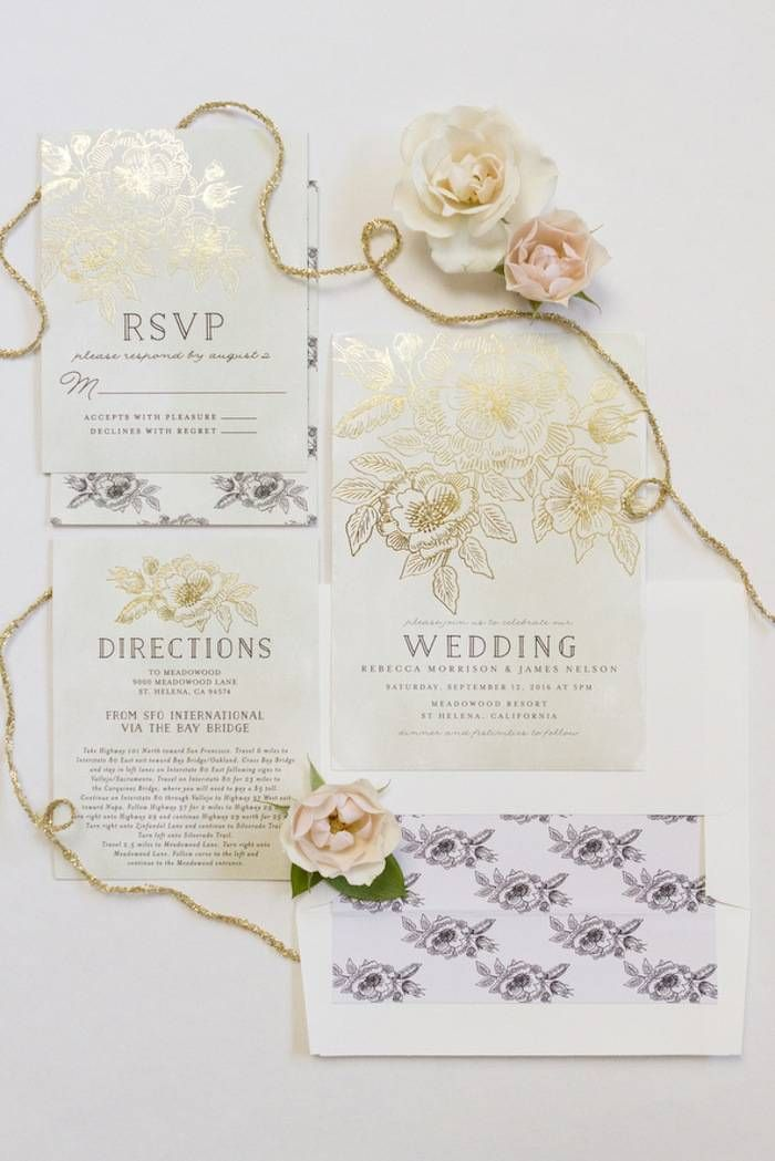 Add a little glam to your wedding invitation suite with a foil-pressed wedding invitation design from Minted.