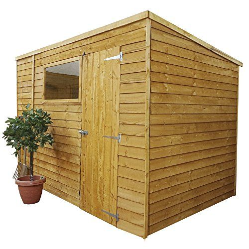 10x6 Overlap Wooden Pent Garden Shed - Single Door, Felt, Window - By Waltons