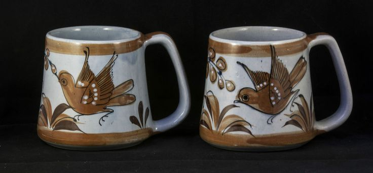 Signed KEN EDWARDS MEXICAN POTTERY MUGS PAIR EL PALOMAR BIRD & FLORAL large