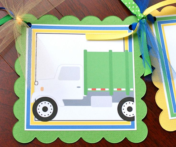 Garbage Truck Trash Day, Name Banner with Age by ConfettiFete on Etsy https://www.etsy.com/listing/86072015/garbage-truck-trash-day-name-banner-with