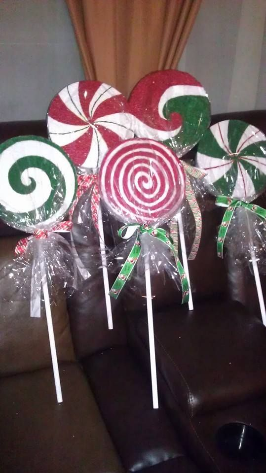 Diy Christmas Lollipop Path Markers Made From Styrofoam And Dowel Rods Pinterest Decorations Holiday