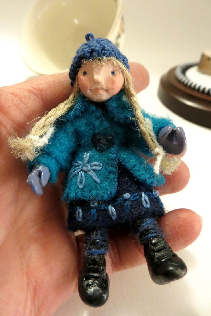 Winter Bluebell, mixed media doll in blue, completed 2011 by Lorraine K. Muenster