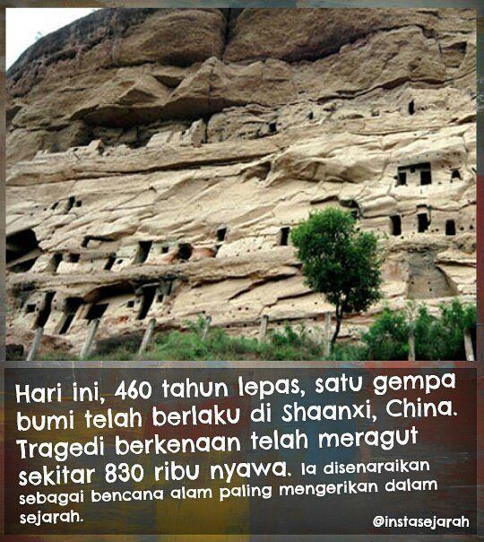 Bencana berlaku pada 1556 dengan gegaran 8 skala ritcher melanda lokasi penempatan pesat menyumbang kepada jumlah kemalangan nyawa yang tinggi.  #sejarah #teknologi #history #fakta #info #instasejarah #sejarahdunia #peradaban #ketamadunan #asia #eropah #amerika #afrika #melayu #malaysia #belajarsejarah #follow #followme #world #trivia #facts #monumen #artifak #nusantara #funfacts #angkasa #1556 #shaanxi by instasejarah @enthuseafrika