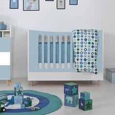 Babybett / Gitterbett VIVIEN, umbaubar, weiß, mint, 70x140cm