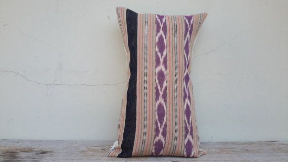 12 x 20 inch handmade Cotton Beige / Purple Ikat by CoverRelax