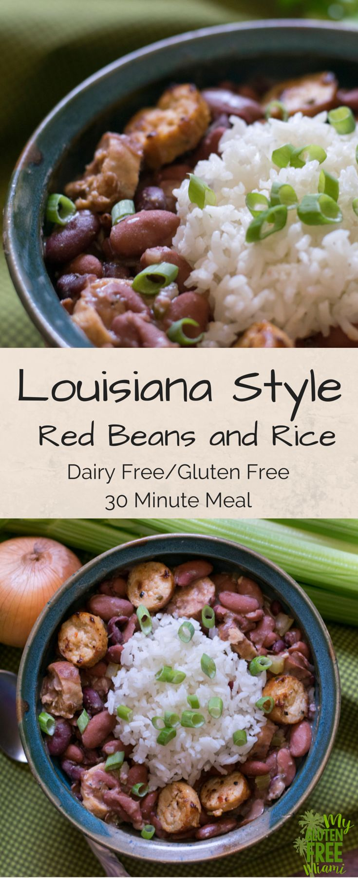 Louisiana Style Red Beans and Rice made with First Fresh Hot Italian Chicken Sausage. Gluten Free, Dairy Free and ready in under 30 minutes! This easy and delicious meal is sure to become a family favorite.  Be sure to follow My Gluten Free Miami for an amazing recipe to use with the leftovers!