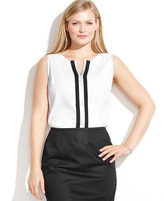 $36 on sale Calvin Klein Plus Size Sleeveless Split-Neck Blouse - Calvin Klein - Plus Sizes - Macy's