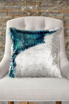 Our Lake Blue & Silver Sequin Mermaid Pillow is one of our most popular mermaid pillows! The blue color is a gorgeous shade of blue that lights up a room. - Includes both pillow cover + soft cotton pi