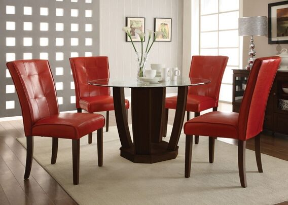 5 pc bethany collection with red leather like vinyl upholstered chairs and espresso finish wood small dining table set with glass top