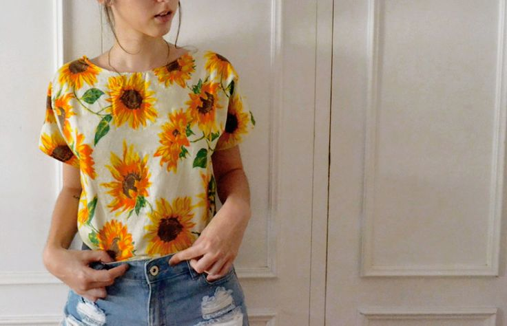 Para dar boas vindas ao verão: costure uma camisa fresquinha  (e cheia de Girassóis!)   dcoracao.com
