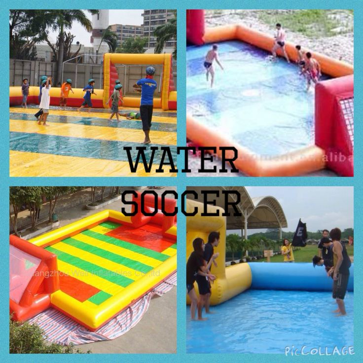 Water Soccer is just played in a blow up field and goals you can use a blow up soccer ball or a real soccer ball... Don't slip