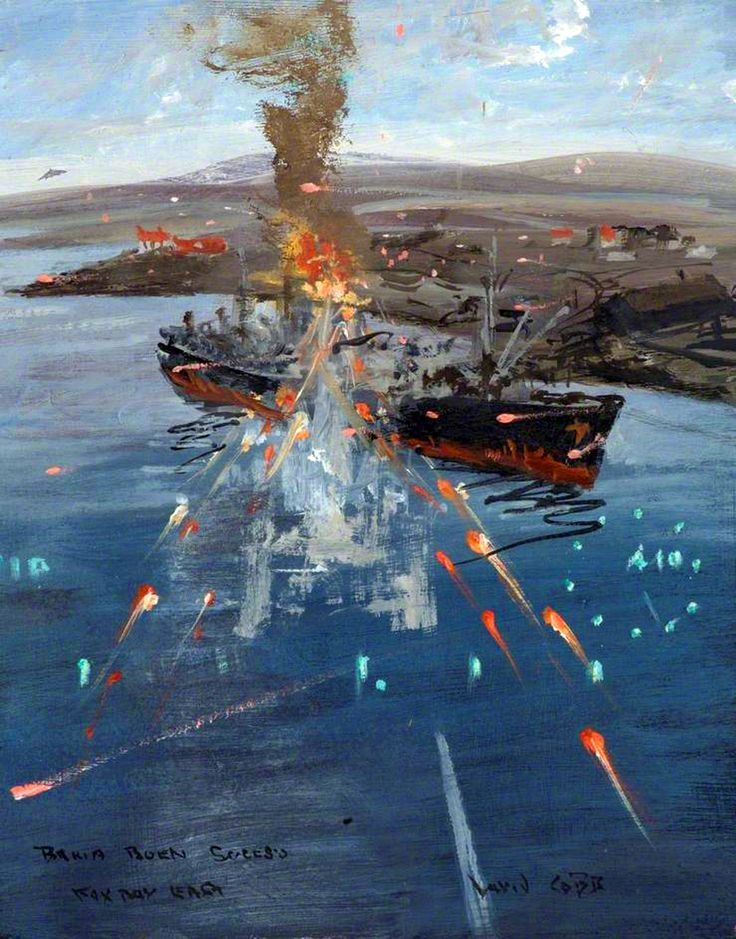 British Harriers sinking an Argentinian ship, Falklands War