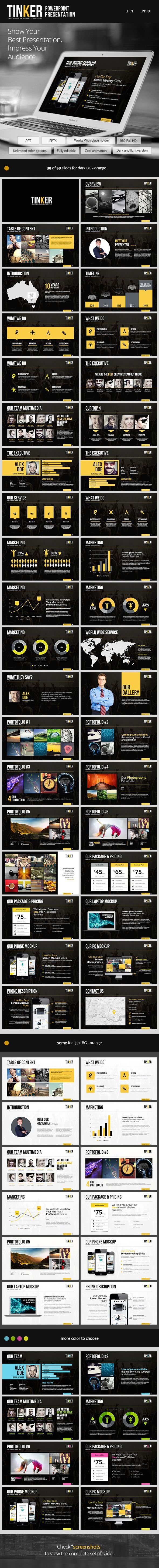 TINKER - Powerpoint Template #powerpoint #powerpointtemplate Download: http://graphicriver.net/item/tinker-powerpoint-template/9101636?ref=ksioks