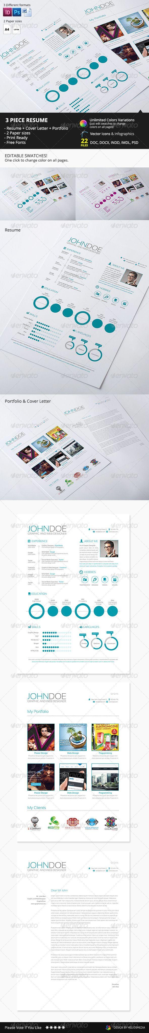 3 Piece Resume CV 7 best Portfolio