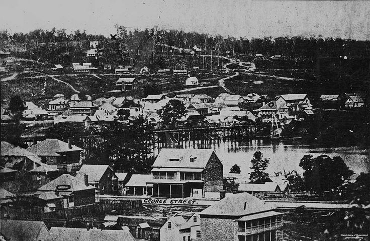 Early view of Brisbane, ca. 1866 - View of the township of Brisbane, Queensland, around 1866. Street in foreground identified as George Street. Brisbane River runs through centre of image.