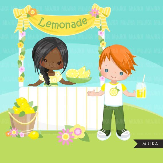 Lemonade Stand Clipart Cute Spring Summer Birthday Graphics Etsy