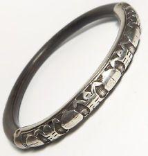 Antique Chinese Export Silver & Exotic Wood Bangle Bracelet