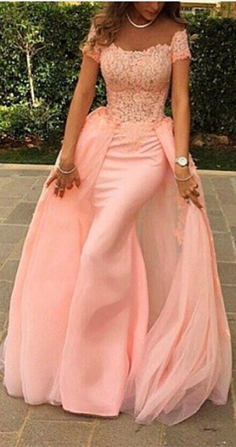 Lovely Pink Lace Short Sleeve Prom Dress from www.27dress.com