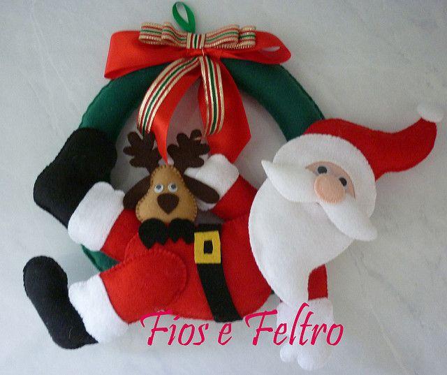 Guirlanda Papai Noel   por Fios e Feltro