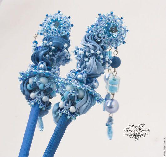 Заколки ручной работы. Заказать палочки для волос 'Киприды рождения студ е фриволите, синий. Поэзия кружева украшения Мари К. Livemaster.