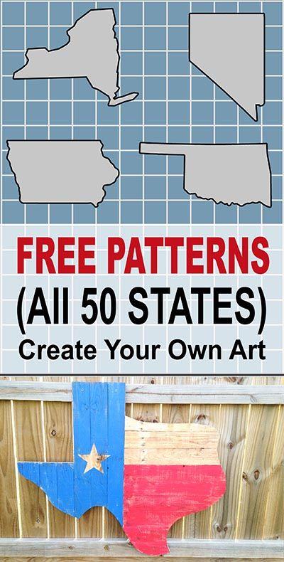 DIY Woodworking Ideas Free Patterns, Outlines, Clip Art Designs for all 50 states in the United States...