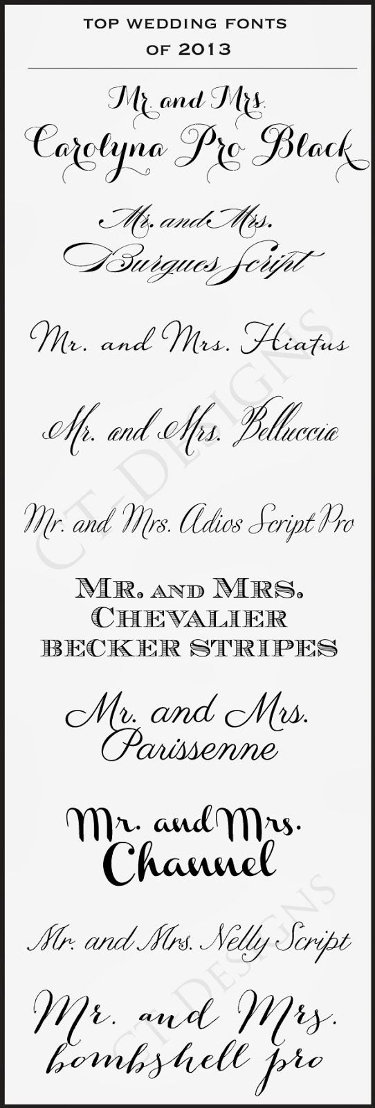 CT-Designs Calligraphy and Wedding Stationery: Top #Wedding #Fonts of 2013 #WeddingFonts #WeddingPlanning