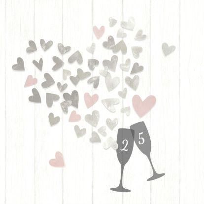 Jubileum 25 zilveren hartjes, verkrijgbaar bij #kaartje2go voor €1,79