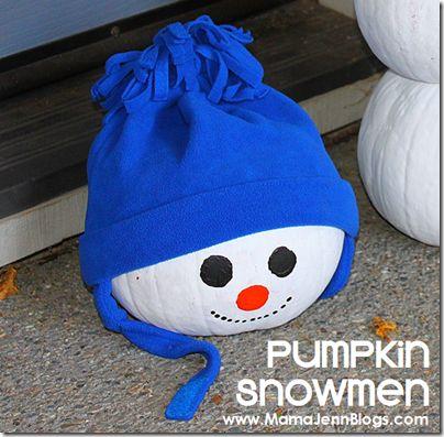 Pumpkin Snowmen (repurposing pumpkins)